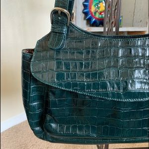 Maxx New York Croc Embossed Green Leather Purse